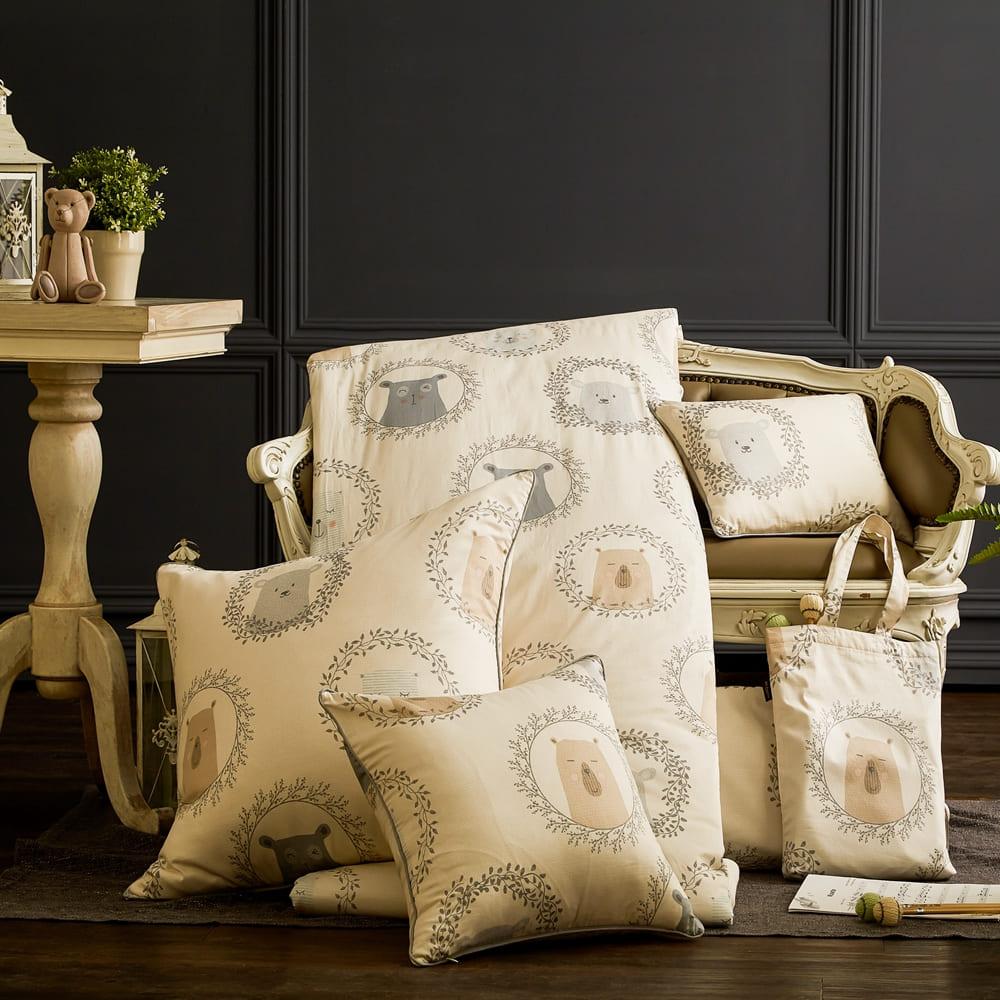 BBL Premium|100%棉.印花方型抱枕(含枕芯)一個-榮耀冠軍熊