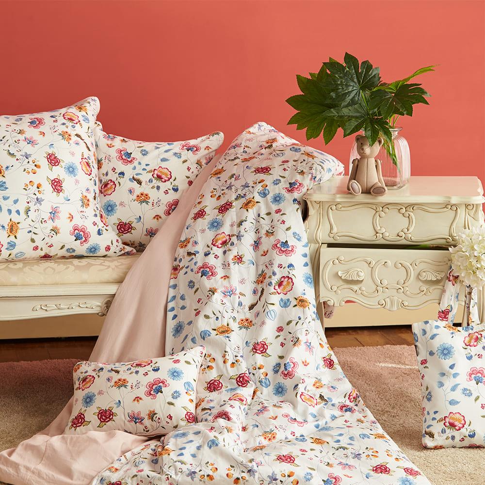 BBL Premium|100%棉.印花方型抱枕(含枕芯)一個-異國花境