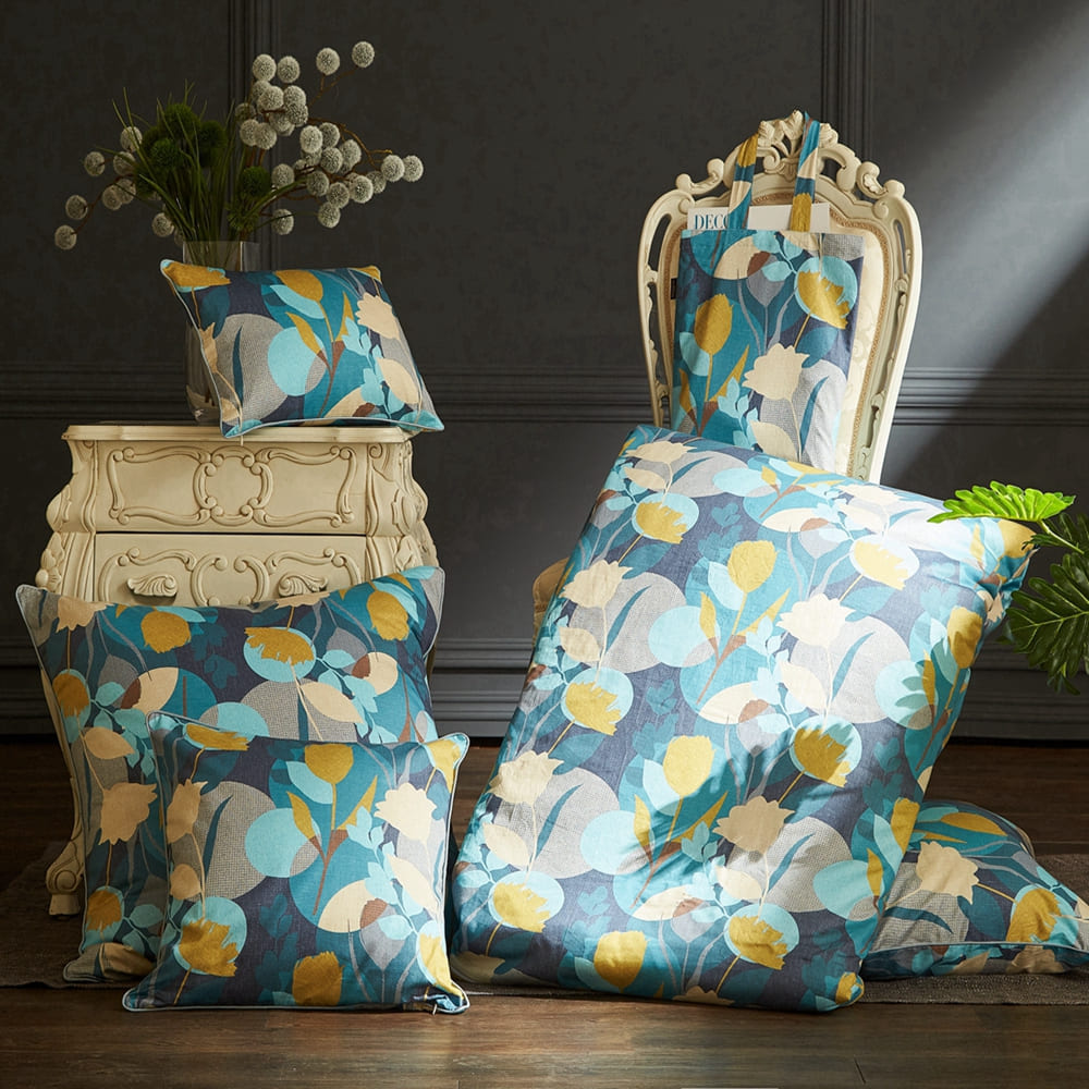 BBL Premium 100%棉.印花方型抱枕(含枕芯)一個-午後花園派對