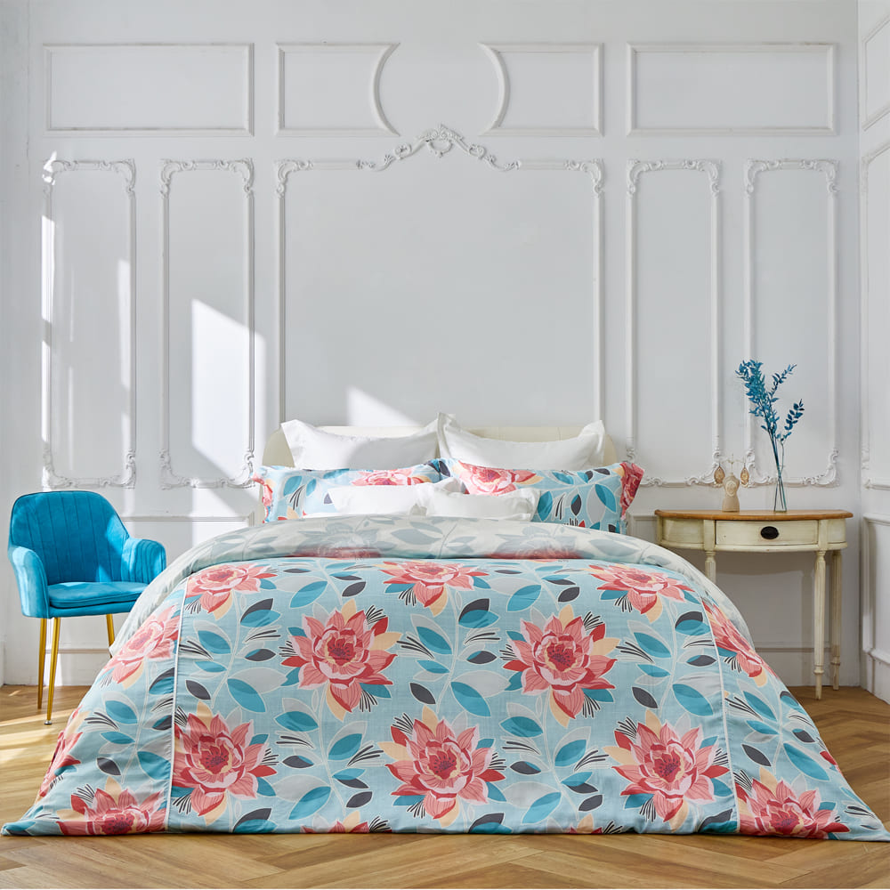 BBL Premium|100%天絲印花兩用被床包組-向陽芳庭(雙人)