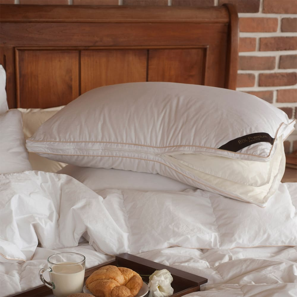 BBL Premium JIS95/5機能調節羽絨枕-沙金(一對)
