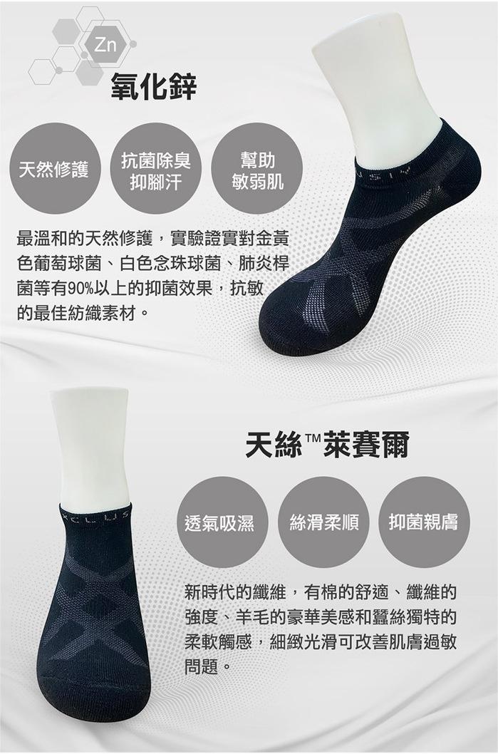 (複製)XCLUSIV| PREMAZN 抑菌除臭抗敏照護踝襪-奧地利天絲/氧化鋅(灰色)