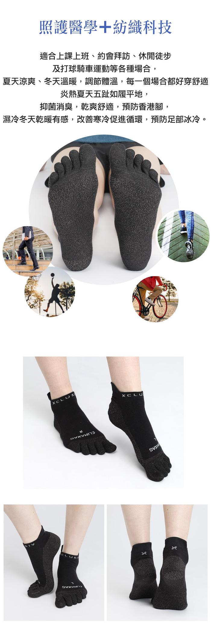 (複製)XCLUSIV|CLIMAXAG可立滅 銀纖維健康照護五趾船型襪(白色)