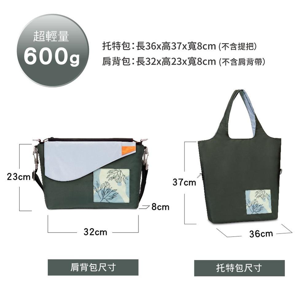seisei 遛遛包-斜背包+托特包 二合一多功能收納 (雲石灰 Mist blue)
