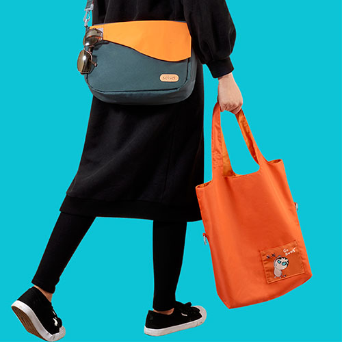 seisei|雙色托特包-肩背手提兩用 翻面換色 雙正面 (就是橘 Tangerine)