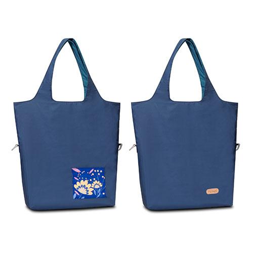 seisei 雙色托特包-肩背手提兩用 翻面換色 雙正面 (星空藍 Cerulean)