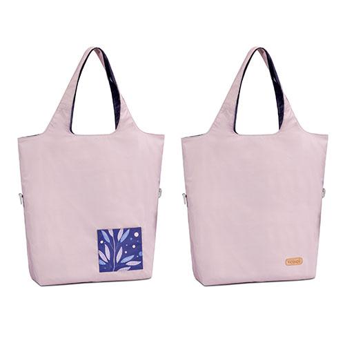 seisei 雙色托特包-肩背手提兩用 撞色搭配 雙正面 (櫻花粉 Cherry blossom)