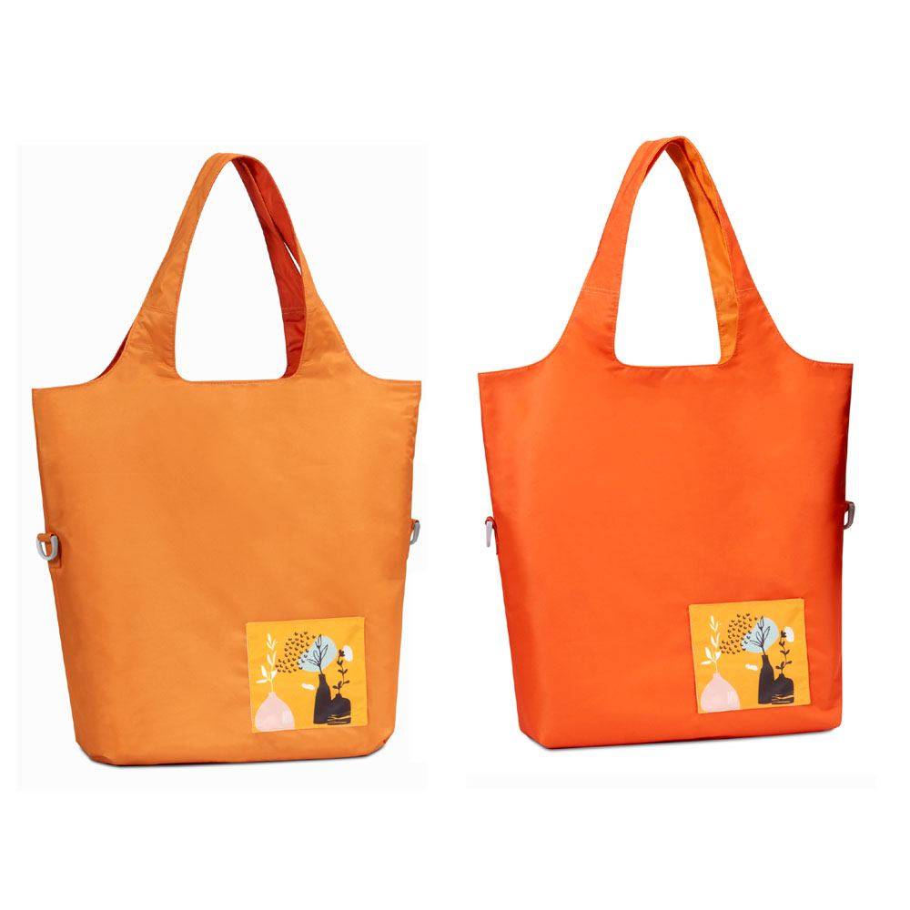 seisei|雙色托特包-肩背手提兩用 翻面換色 雙正面 (金盞橘 Canary)