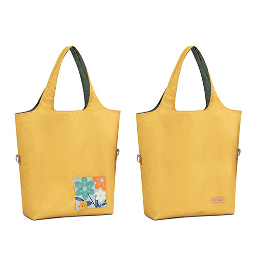 seisei|雙色托特包-肩背手提兩用 翻面換色 雙正面 (太陽黃 Bumblebee)
