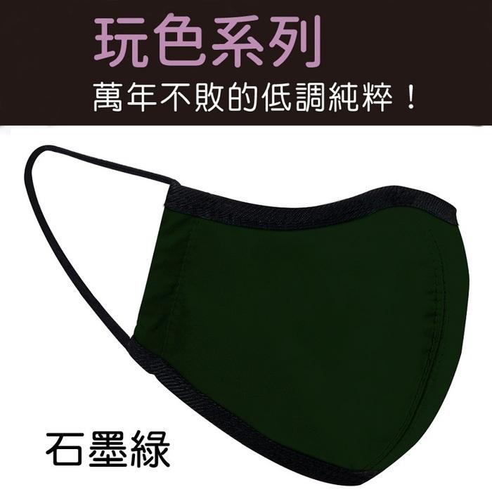 seisei|雙層抗菌纖維環保布口罩-玩色(石墨綠)