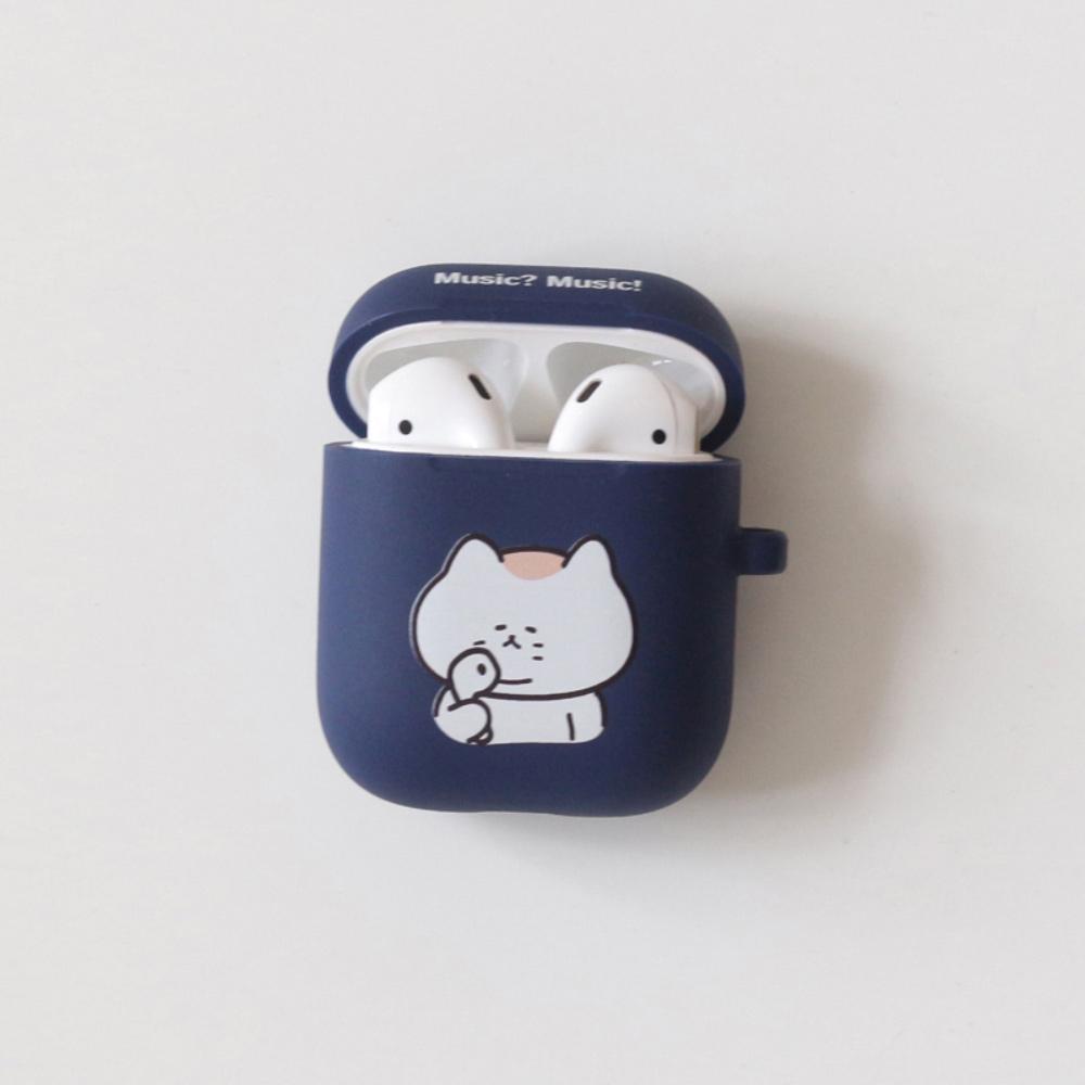 3MONTHS|AIRPODS耳機殼 悠仔啦啦(白) / 悠仔聽歌(海軍藍)