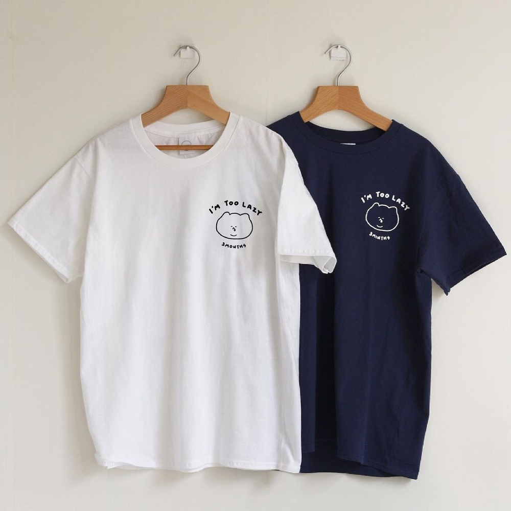 3MONTHS 悠仔太慵懶t恤 白 / 藍