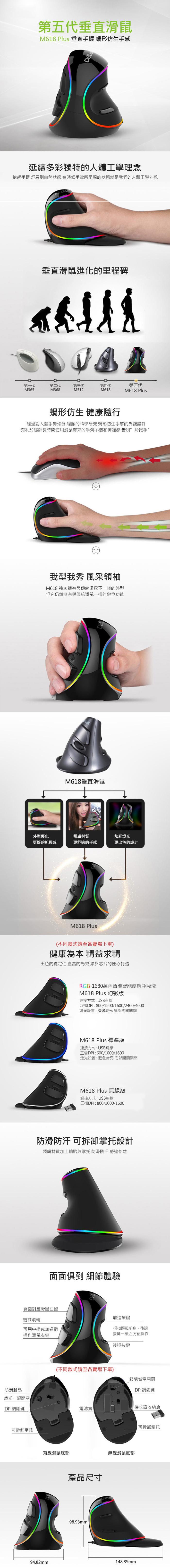 (複製)DeLUX|M618C 垂直光學滑鼠
