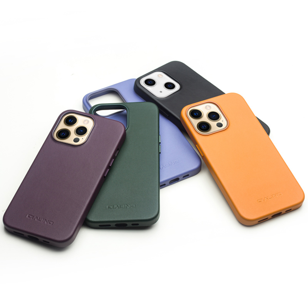 QIALINO Apple iPhone 13 真皮磁吸保護殼