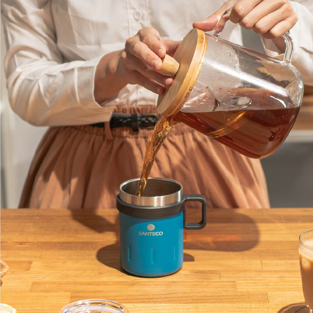 SANTENCO KEMI 透明上蓋馬克杯 350ml (海灣藍)