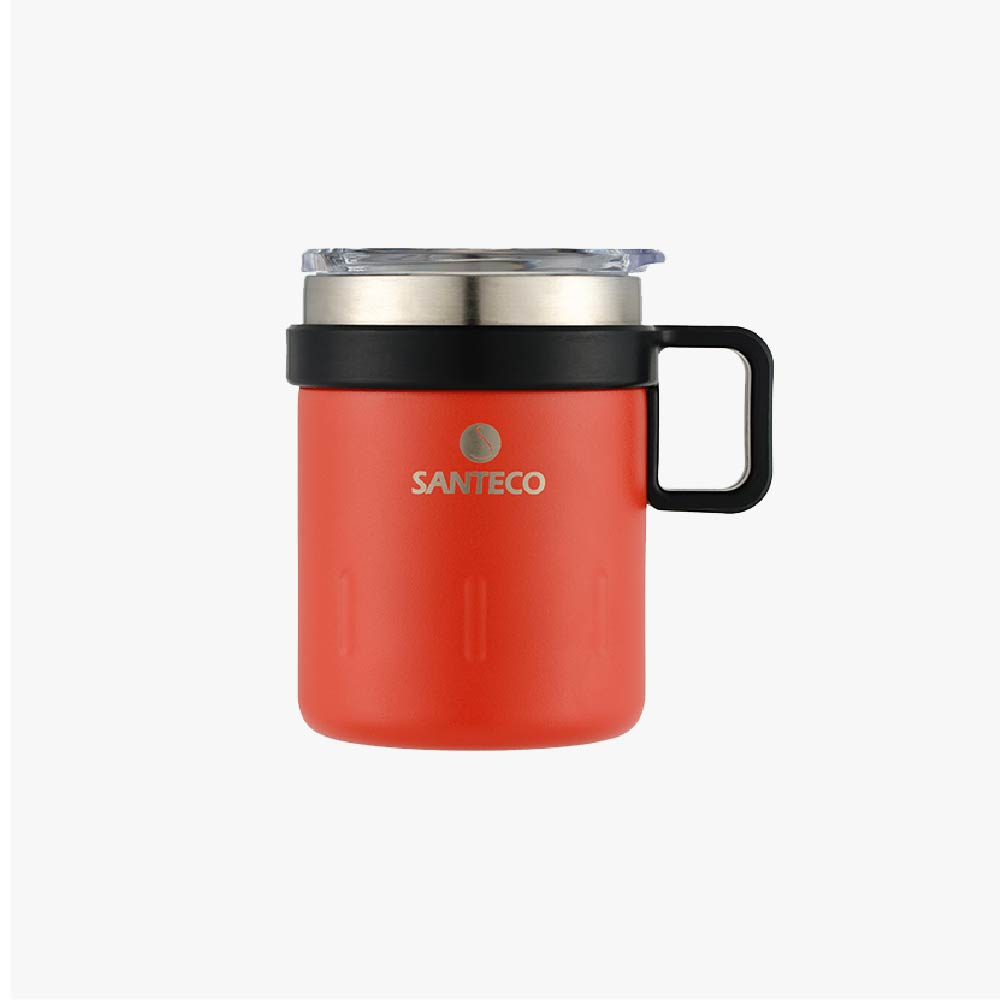 SANTENCO KEMI 透明上蓋馬克杯 350ml (橙果紅)