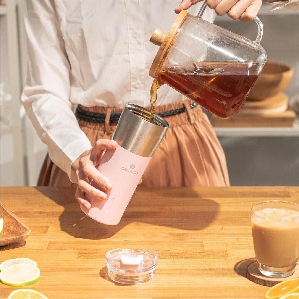 SANTENCO|KARIBA 透明上蓋保溫杯 500ml (櫻花粉)