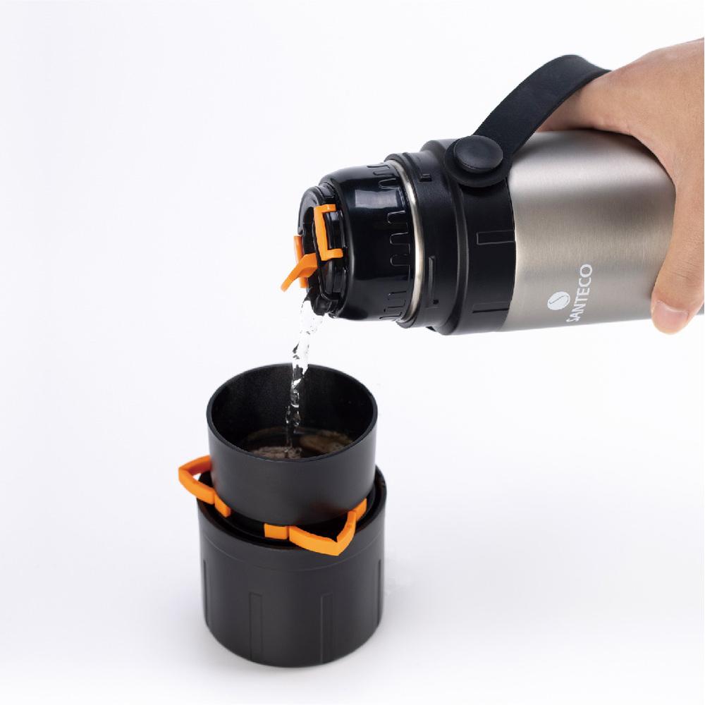 SANTENCO KAFE  附咖啡濾網雙層真空保溫瓶 650ml(暴風灰)