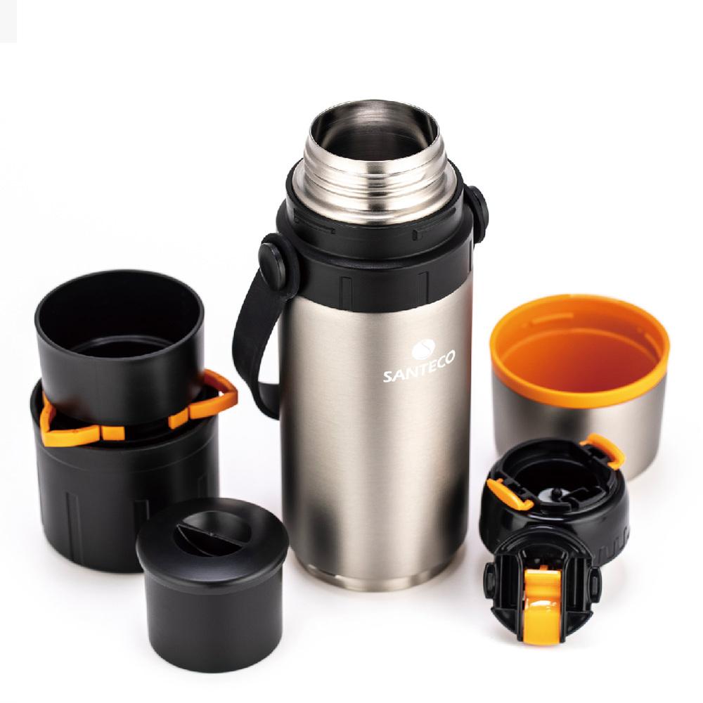 SANTECO|KAFE  附咖啡濾網雙層真空保溫瓶 650ml(不鏽鋼)