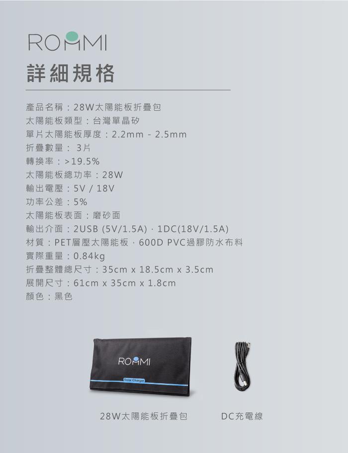 Roommi 28W太陽能充電板