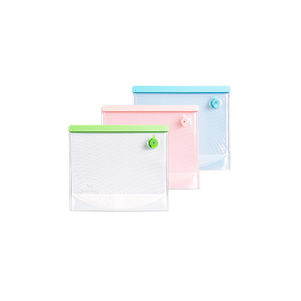 SealVax|環保無痕真空袋小袋3件組 (綠/粉/藍3色各一)