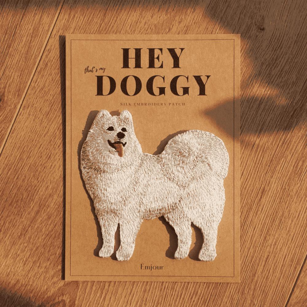 Emjour 犬系列刺繡熨燙貼 - 薩摩耶